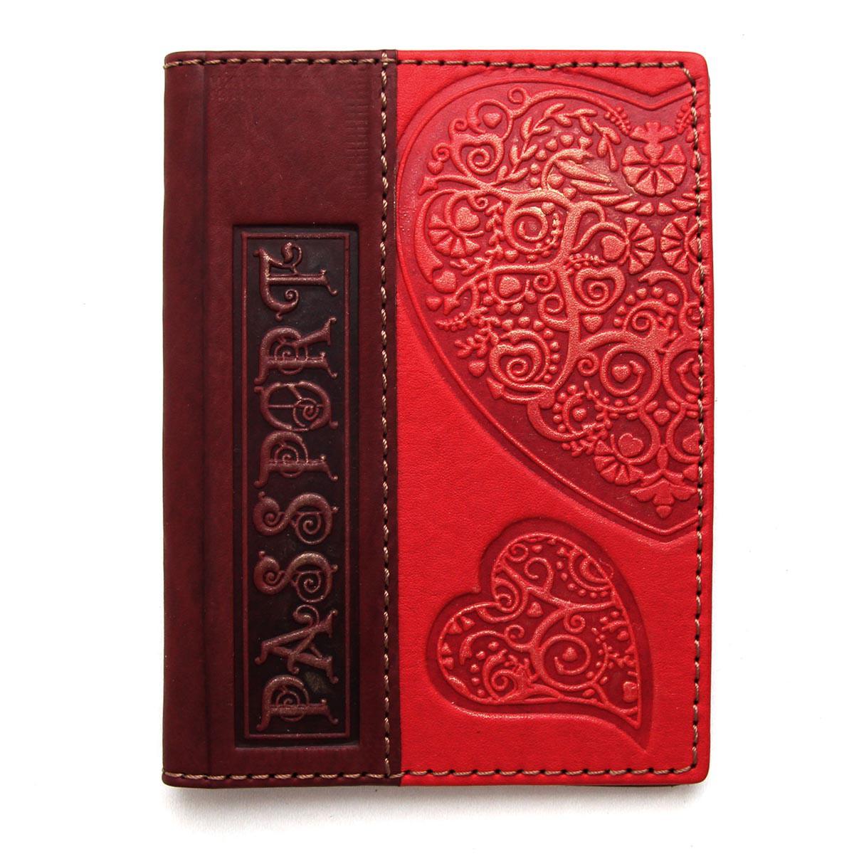 """Обложка на паспорт из натуральной кожи с художественным тиснением """"Любовь"""" (Guk)"""