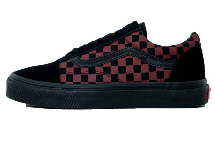 21c1ded48914 Мужские кеды Vans Old Skool Checkerboard Black Bordo (Реплика ААА+)  ...
