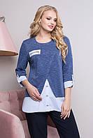 Женская, красивая,модная блуза для офиса больших размеров р- 50,52,54,56,58 весна цвет синий