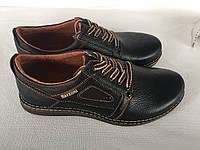 Кожаные мужские туфли 10 коричневые глянец