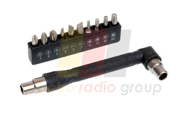 Набор, отвертка-ключ магнитная +10бит, R'Deer RT-1611