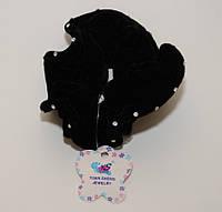 Модная резинка для волос украшенная стразами велюровая  цвет черный DBV 60 /4-0