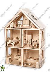 Кукольный домик конструктор для барби 3 этажа