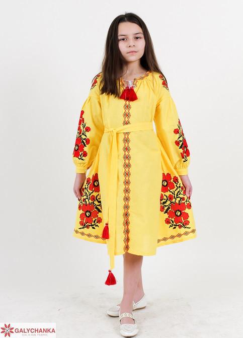 7b70346cfb6549d Льняное вышитое платье с маками и поясом для девочек от оптово ...