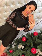 Платье Жаккард с кружевом, черное, фото 1