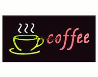 Вывеска светящаяся `Coffee`. 45x25 см