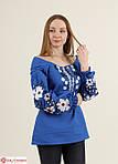 Белая вышитая блуза для женщин в синим орнаментом, фото 4