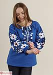 Белая вышитая блуза для женщин в синим орнаментом, фото 5