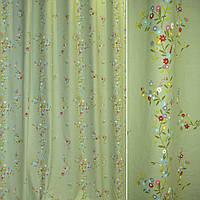 Лен льняная ткань (льняная ткань) светло зеленый с лианами из цветов ш.280