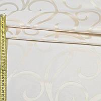 Атласная ткань атлас жаккард кремовый с молочными завитками, ш.150