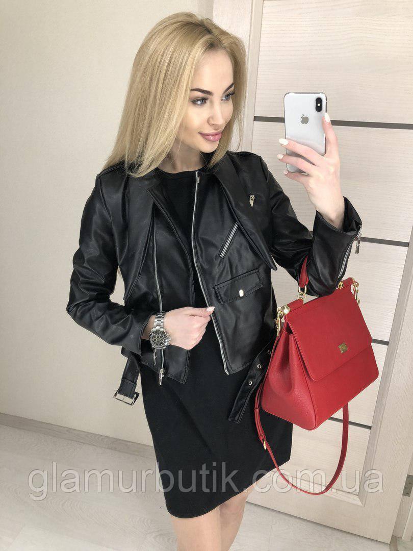 Женская кожаная куртка косуха с карманами и молниями демисезонная чёрная 42  44 46 f4d0b037b6b