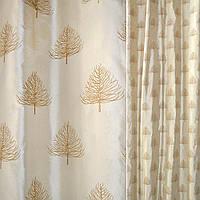 Шелк натуральный золотистый, вышитый деревьями ш140