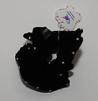 Модная резинка для волос украшенная стразами хамелеон, велюровая, цвет черный DBV 61 /4-0