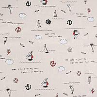 61412 - Деко-лен молочный в черно-бело-красные кораблики