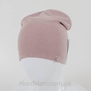 """Удлиненная двойная шапка  """"Пирсинг"""", Пудра"""