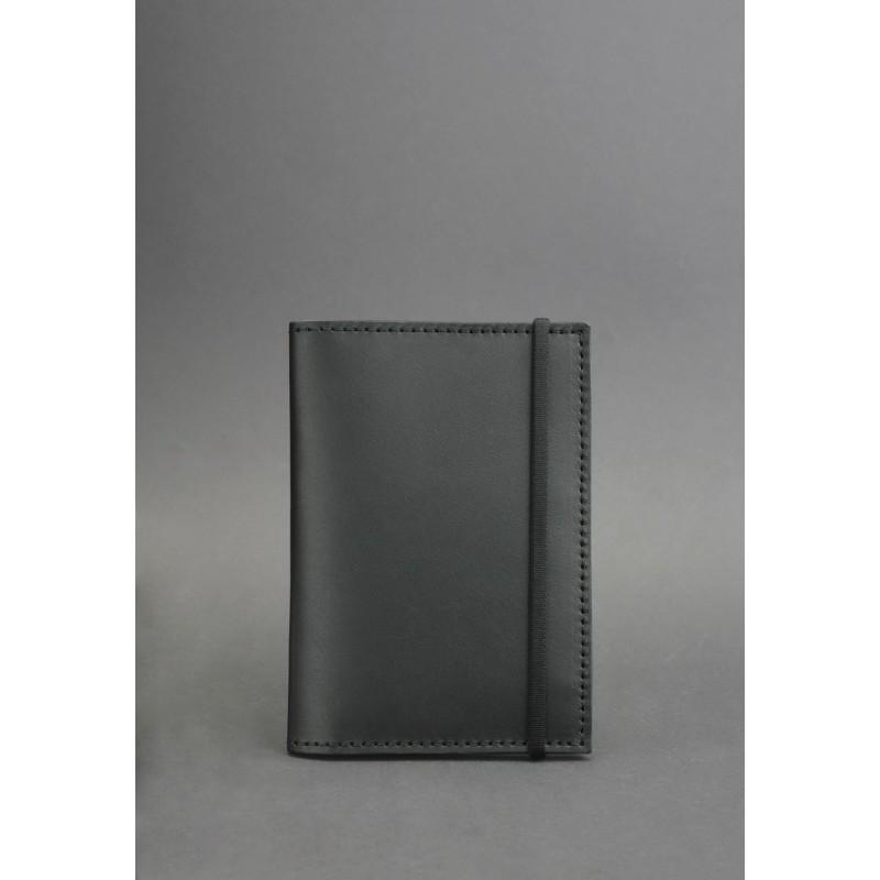 Обложка для паспорта 2.0 Графит (кожа) + блокнотик, фото 1