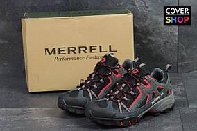 Мужские кроссовки Merrell, материал - замша+плотная сетка, серо-красные