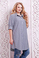 Женская рубашка-платье в клетку большого размера 54, 56. Кофта, туніка батал