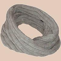 Вязаный зимний шарф - снуд бежевого цвета льна