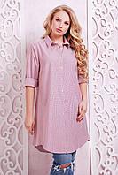 Женская рубашка-платье в клетку большого размера  56. Кофта, туніка батал