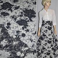Гобелен льняная ткань белый с тем. синими цветами ш.155