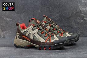 Мужские кроссовки Merrell, материал - замша+плотная сетка, оливковые с коричневым