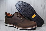 Кожаные мужские полуботинки коричневые, фото 1