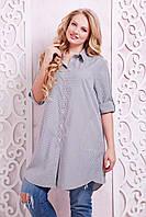 Женская рубашка-платье в клетку большого размера  54, 56, 58. Кофта, туніка батал