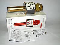 Микрофон с функцией Караоке Wster WS-858 USB microSD AUX Bluetooth MP3 Karaoke Player, gold