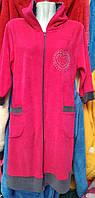 Женский  велюровый халат с капюшоном