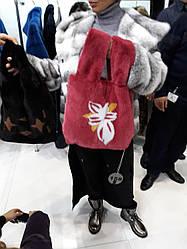 Норковая сумка и с цветочной инкрустацией