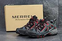 Мужские кроссовки Merrell серые с красным в фирменных коробках