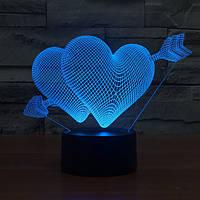 3D Светильник Сердца, фото 1