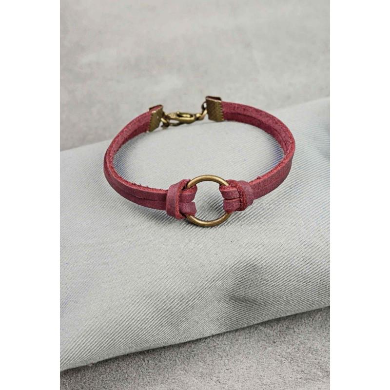 Браслет кожаный с кольцом виноград, фото 1