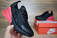 Женские кроссовки Nike Air Max 270 черные (розовая пятка) Топ Реплика Хорошего качества