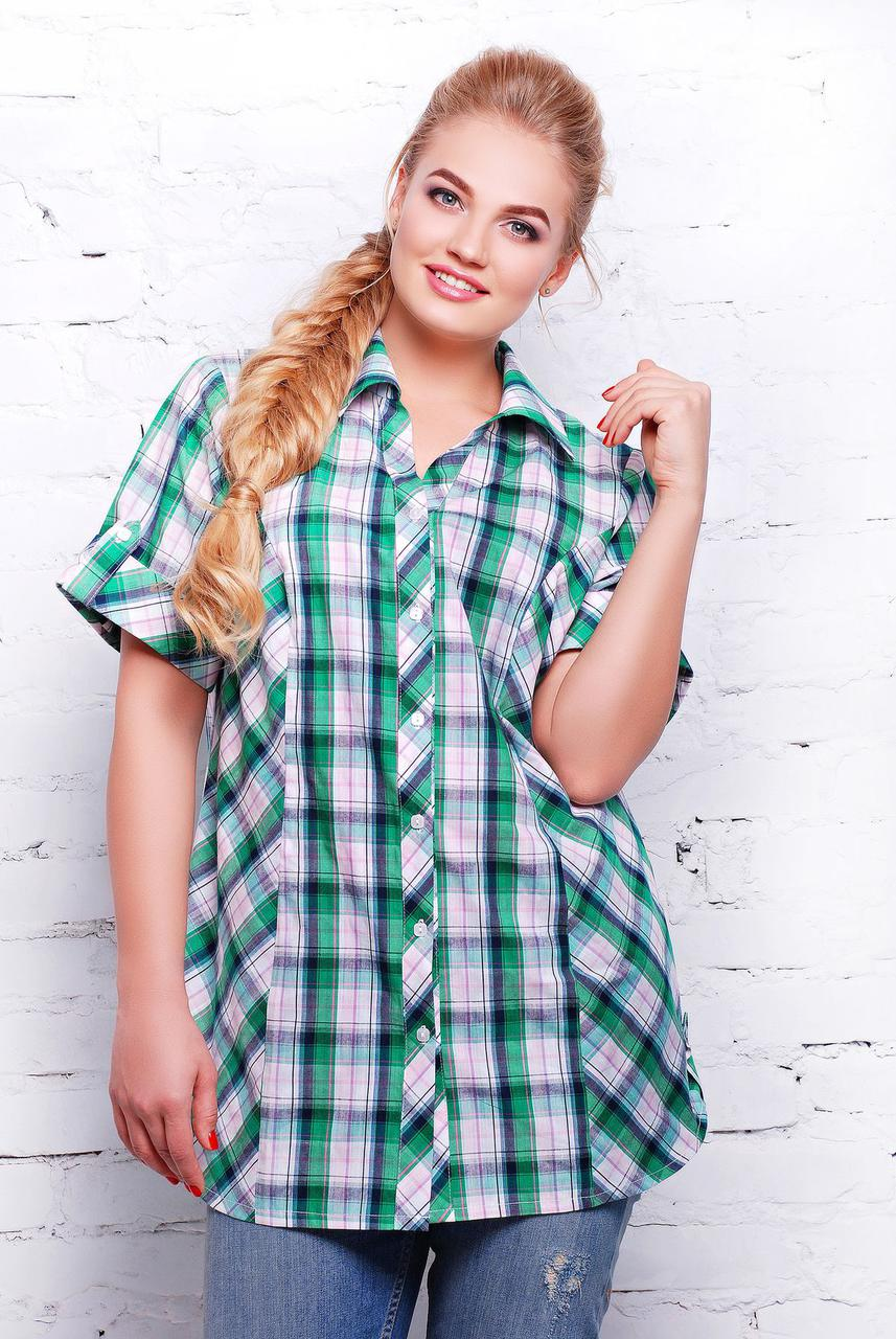 269d770e5fc Женская стильная рубашка в зеленую клетку большого размера 56. Кофта ...