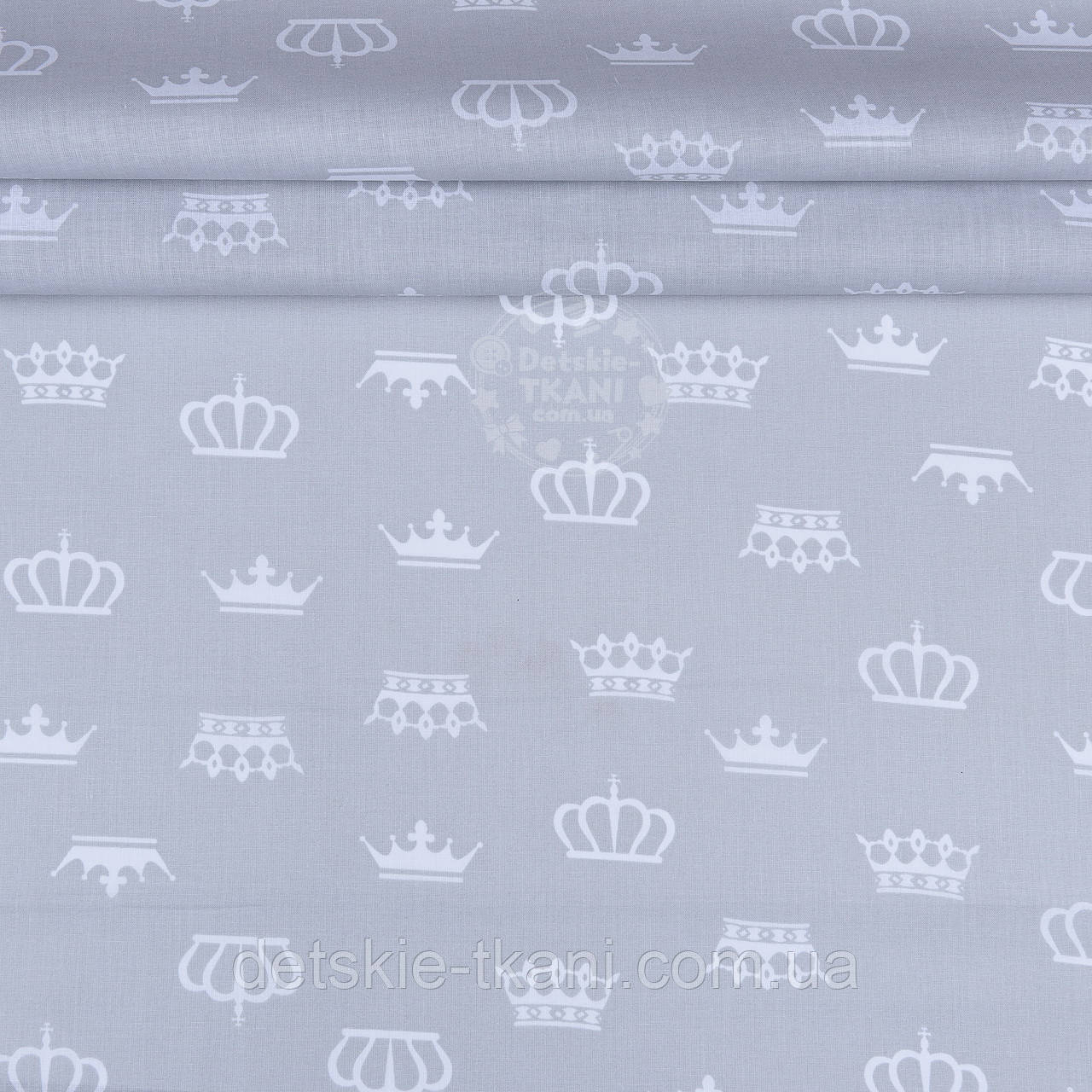 Ткань ранфорс шириной 220 см с белыми коронами на сером фоне (№1217)