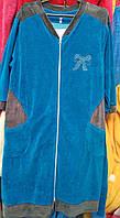 Женский велюровый халат на молнии больших размеров