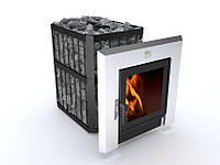 Печь-каменка для сауны Новаслав Пруток - Панорама ПКС-02 П.С3 18кВт с выносом и термостойким стеклом