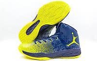 Обувь для баскетбола мужская Jordan W8508-3(43) (р-р 43) (PU, синий-желтый)