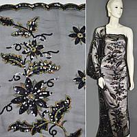 Сетка черная с цветами из черный пайеток и цветы выш ш.130