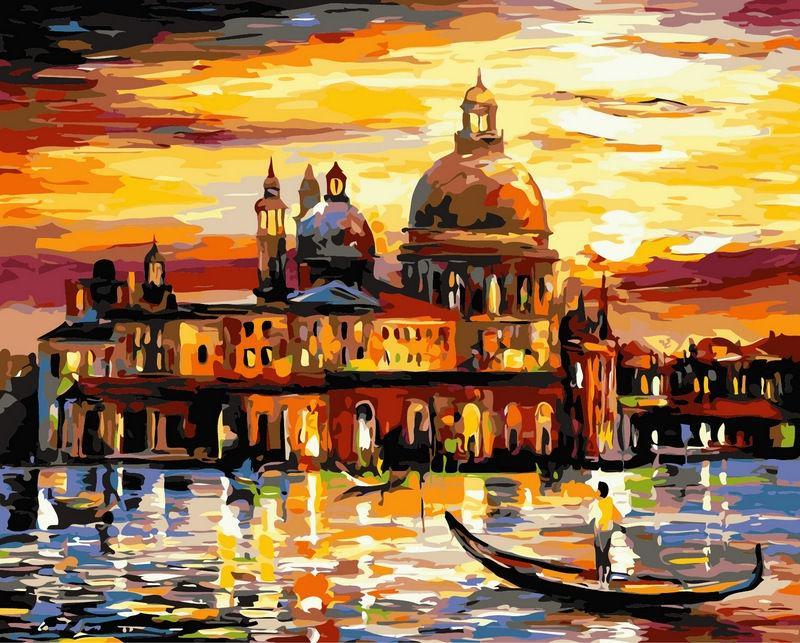 Картина раскраска по номерам на холсте 40*50см Babylon VP073 Золотое небо Венеции