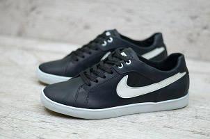 Мужские кожаные кроссовки Nike черные (N-85) БЕСПЛАТНАЯ ДОСТАВКА!!!