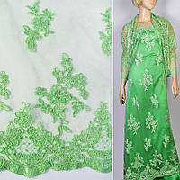 Кружево кружево кружевная ткань гипюр на сетке зеленый мята цветы с двухсторонней каймой ш.130 ткань