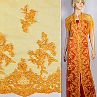 Кружево кружево кружевная ткань гипюр на сетке желтое цветы с двухсторонней каймой ш.130 ткань