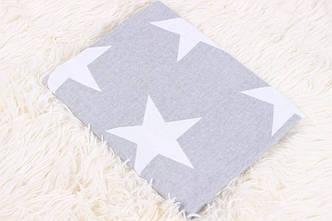 Фланелевая пеленка крупные звезды на сером