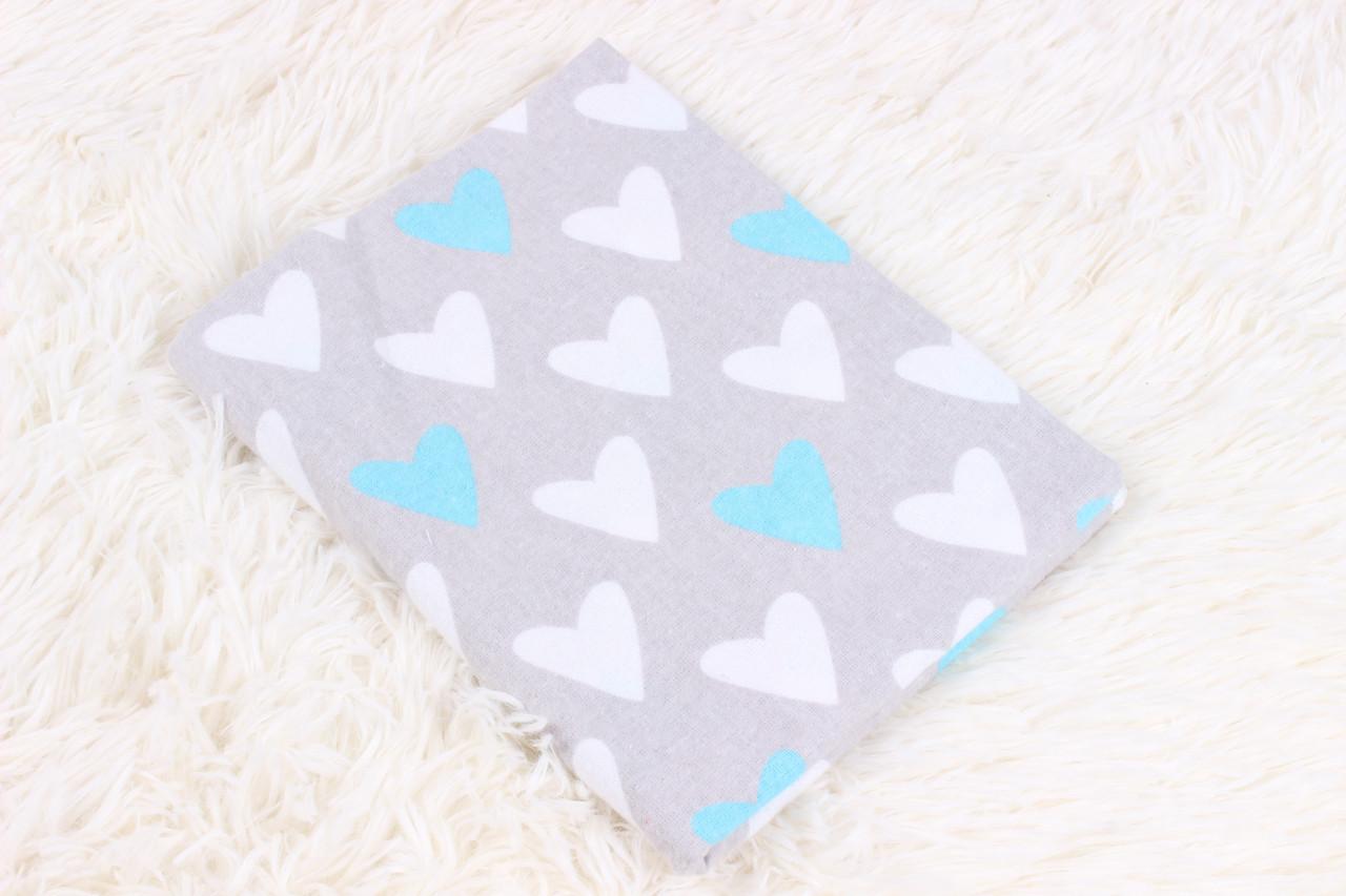 Фланелевая пеленка Сердечки белые и голубые
