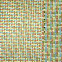 Рогожка с цветы перепл: зеленый оранжевый голубая ш.150