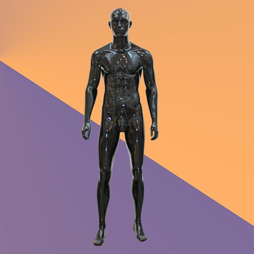 Манекен мужской черный глянцевый