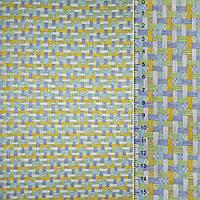 Рогожка с цветы переплет: салатовый желтый белый серая ш.150